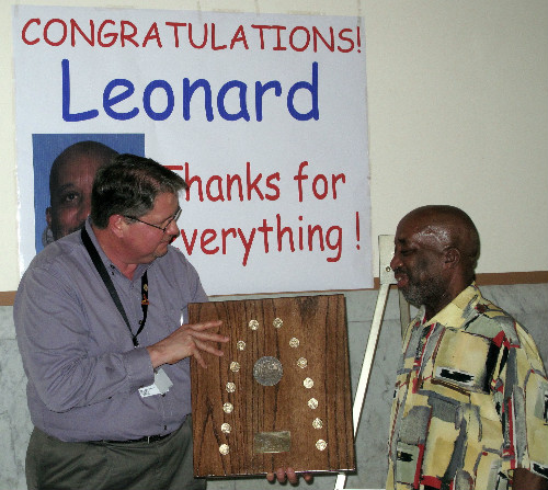 Rick Ernst presents Leonard Harrison with a BPS plaque