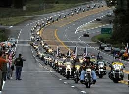 Patriot Guard Riders in formation