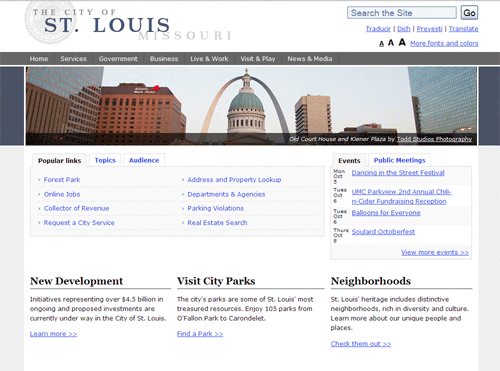 City of St. Louis home page screenshot